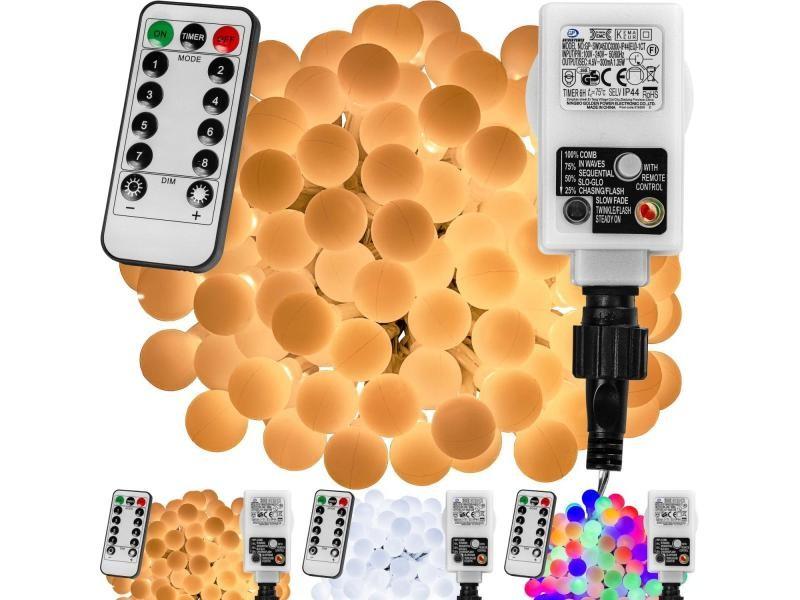 Voltronic® guirlande lumineuse boules led, blanc chaud/ blanc froid/ multicolore, 50 100 200 led, sur secteur avec télécommande - couleur : blanc chaud/8 modes câble trans. - taille : 200 led