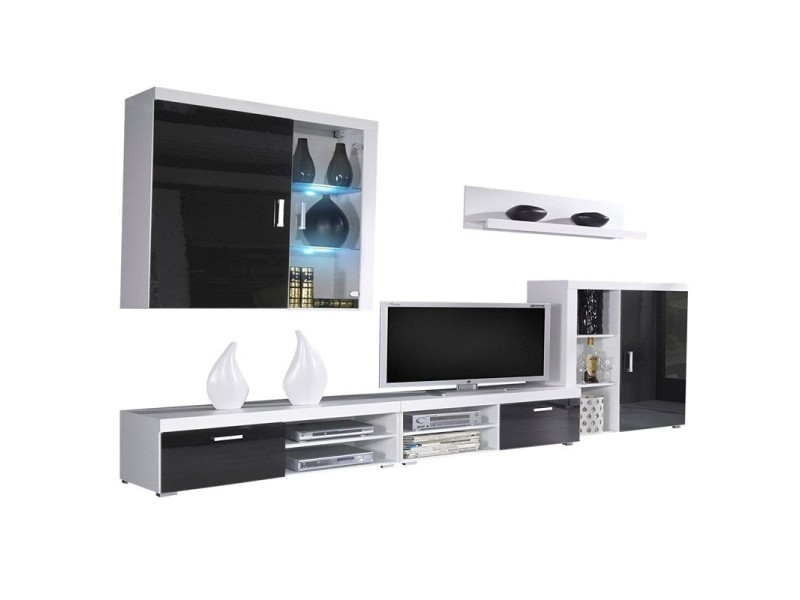 Ensemble De Meubles Meuble Tv Ilumin Led Noir Laque Blanc Mate 290x200x45cm Vente De Meuble Tv Conforama