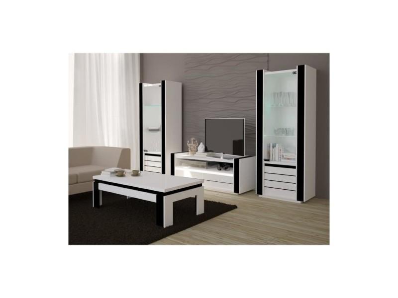 Ensemble meuble de salon lina blanc et noir laqué. - Vente de PRICE ...