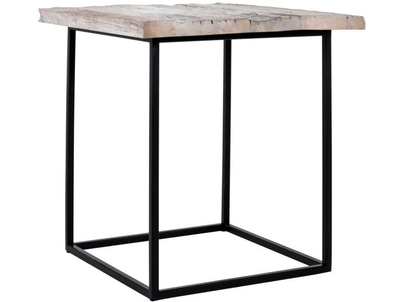 baskets pour pas cher 148d8 a32a9 Table basse carrée 50x50 cm en bois massif coloris gris avec ...