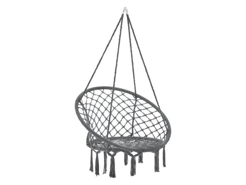 Hamac siège rond chaise suspendue diamètre d'assise 60 cm gris foncé helloshop26 03_0006061