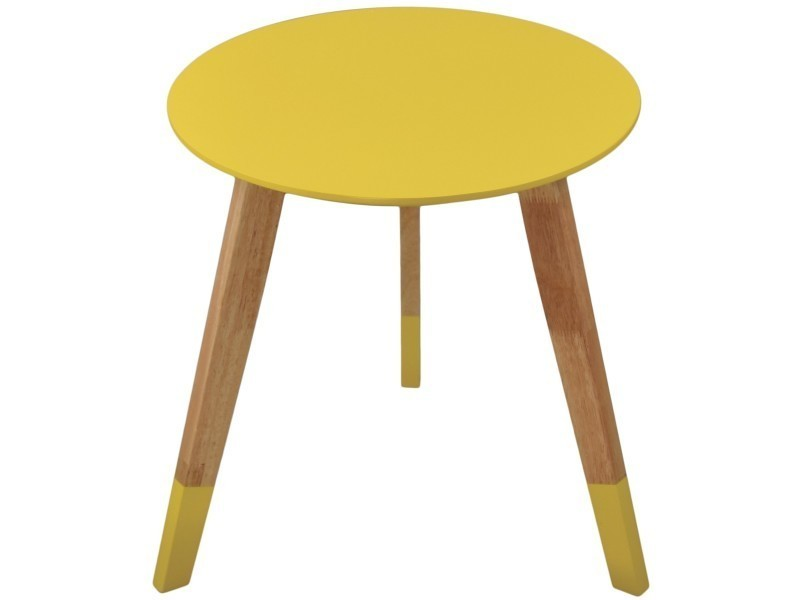 Table ronde scandinave colorama jaune vente de for Table basse scandinave conforama