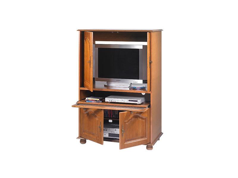 Meuble tv chêne 4 portes 1 abattant vitré - Vente de Meuble ...