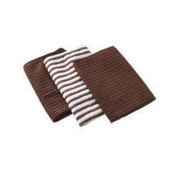 3 torchons 40 x 40 cm cuistot chocolat marron 2 unis/1 rayé