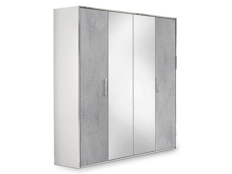 Lana - armoire 4 portes avec penderie et miroir