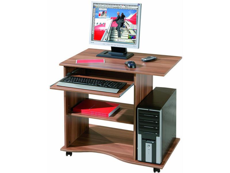 Bureau Informatique Avec Tiroir Clavier Coloris Noyer Dim 80 X 50