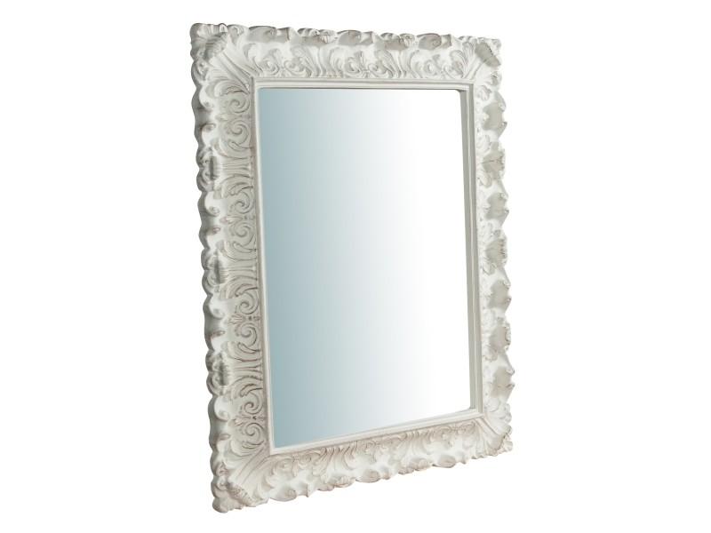 Miroir, long miroir mural rectangulaire, à accrocher au mur, horizontal et vertical, shabby chic, salle de bain, chambre à coucher, cadre finition blanc antique, grand, long, l76xp6xh94 cm. Style shabby chic.