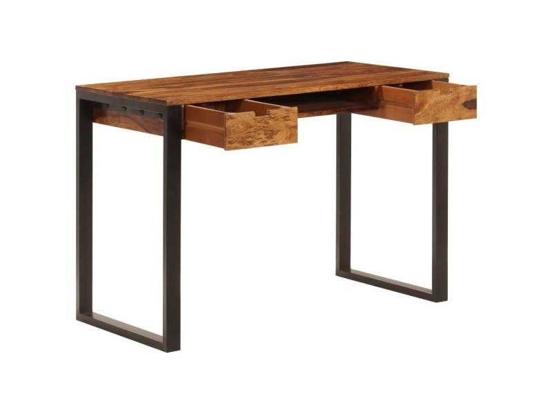 Vidaxl bureau 110x55x78 cm bois solide de sesham acier 247963