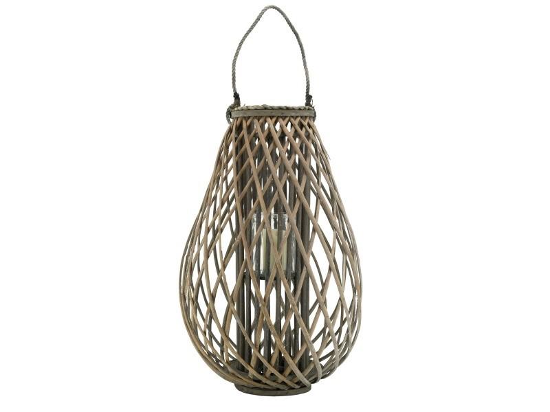 Lanterne goutte en osier gris et verre hauteur 40cm