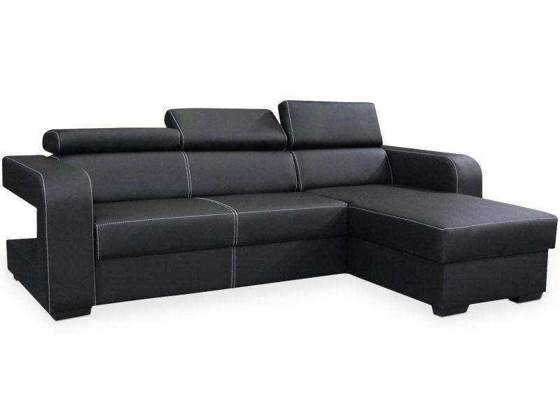 Canapé d'angle convertible espinosa simili noir