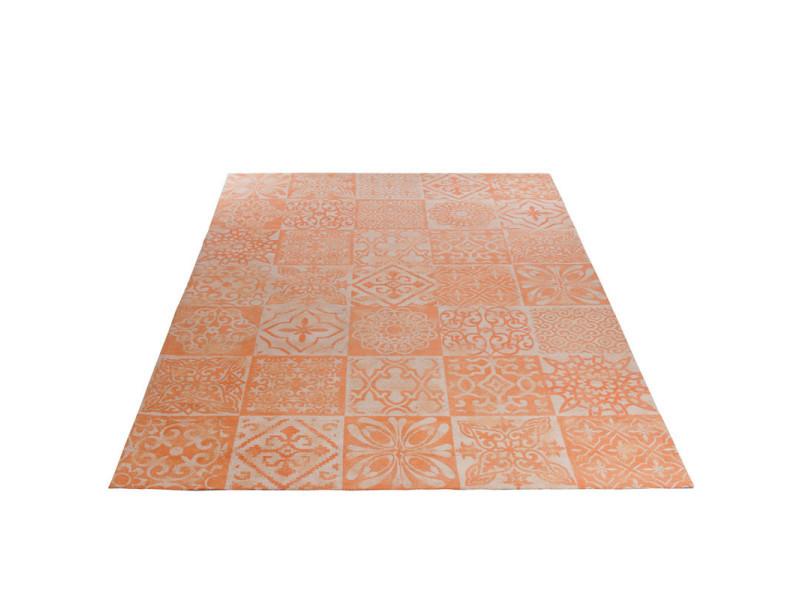 Tapis coton corail patchwork 200*300 - sacco - l 200 x l 300 x h 0.5 - neuf