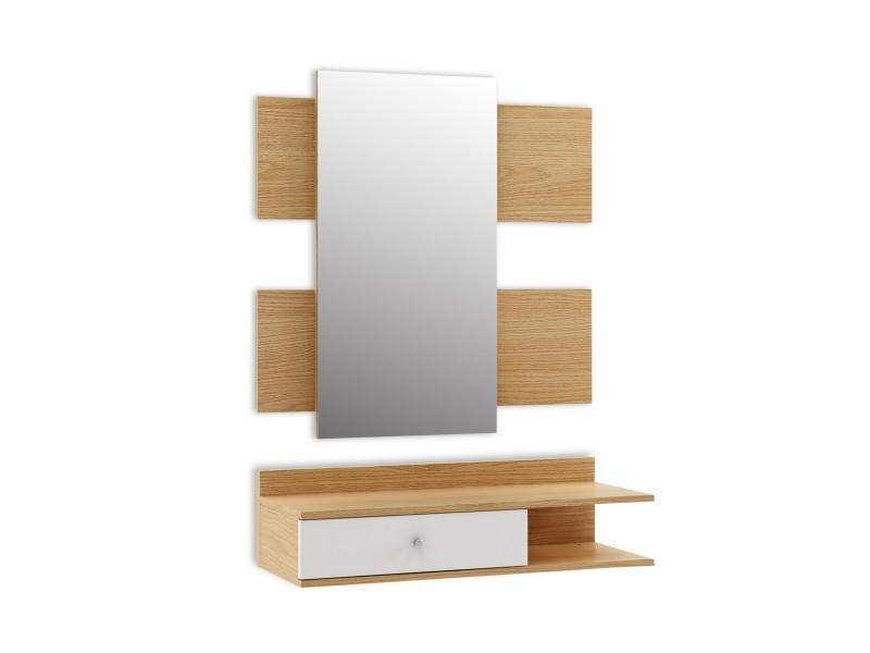 Meuble d'entrée avec miroir et 1 tiroir, ensemble d'entrée, vestiaire d'entrée, style moderne scandinave, 75x30x70, couleur bois