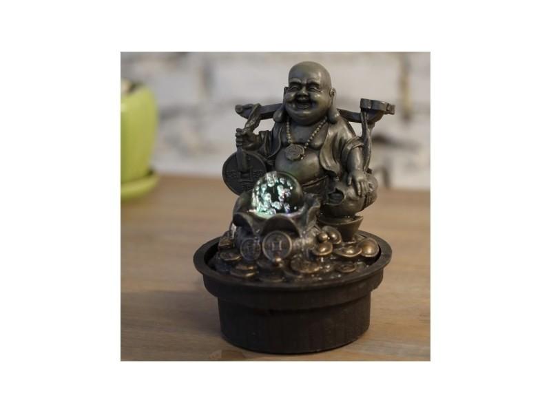 Fontaine d'intérieur bouddha voyageur et boule en verre