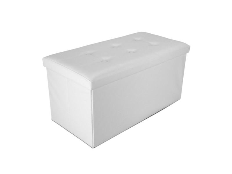 Ottoman avec espace de stockage, banc pliant, 76 x 38 x 38 cm, blanc, finition piquée et capitonnée, charge maximale: 150 kg 3700778708326