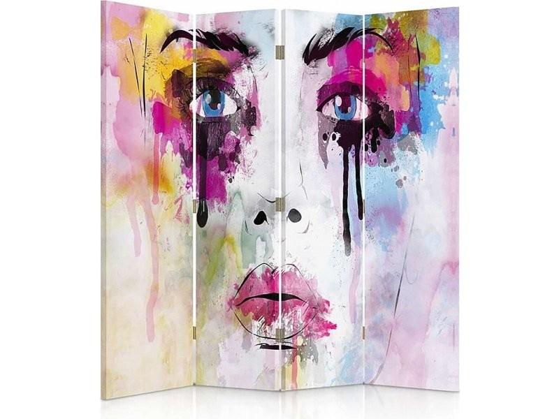 Paravent 4 volets avec les taches de peinture visage 1 coté PAR/4CZ-1S/M_31076/145x150