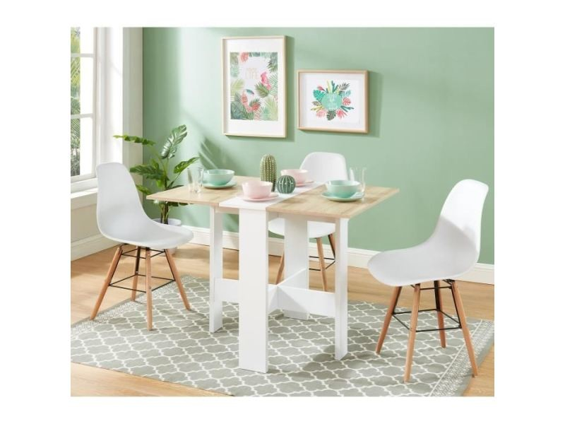 Table a manger seule juno table de séjour pliante 4 personnes - décor chene et blanc - l 104 x 76 x 74 cm