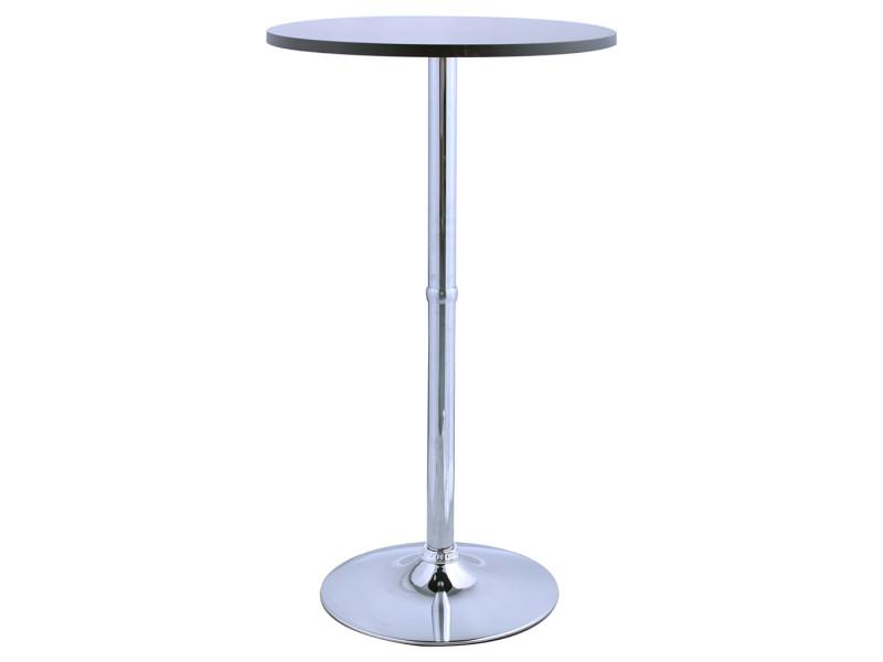 Duhome table de bar avec plateau en bois noir et pied en métal chromé 208