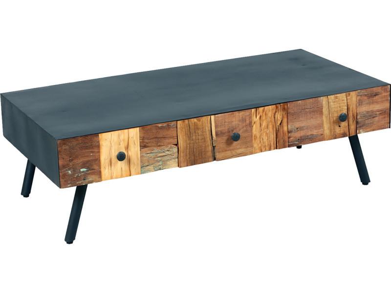 Table basse en palissandre massif de 3 tiroirs - dim : l.115 x p.60 x ht.35 cm -pegane-