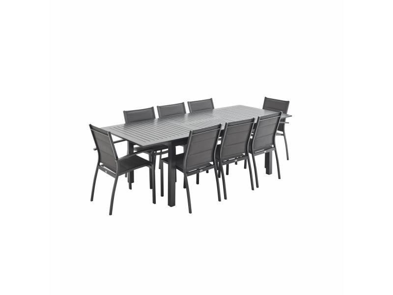 Salon de jardin table extensible - chicago anthracite/gris foncé - table en aluminium 175/245cm avec rallonge et 8 assises en textilène