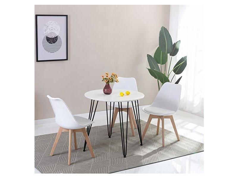 Table ronde à manger design avec pieds en metal table de cuisine moderne style nordique 80 * 80 * 75 cm - blanc