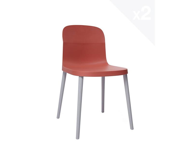 Lot de 2 chaises design intérieur / extérieur SANTI (safran) 280