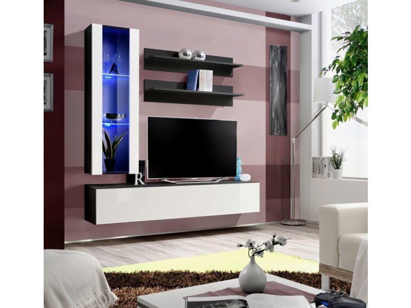 Ensemble meuble tv mural - fly ii - 160 cm x 170 cm x 40 cm - blanc et noir 2