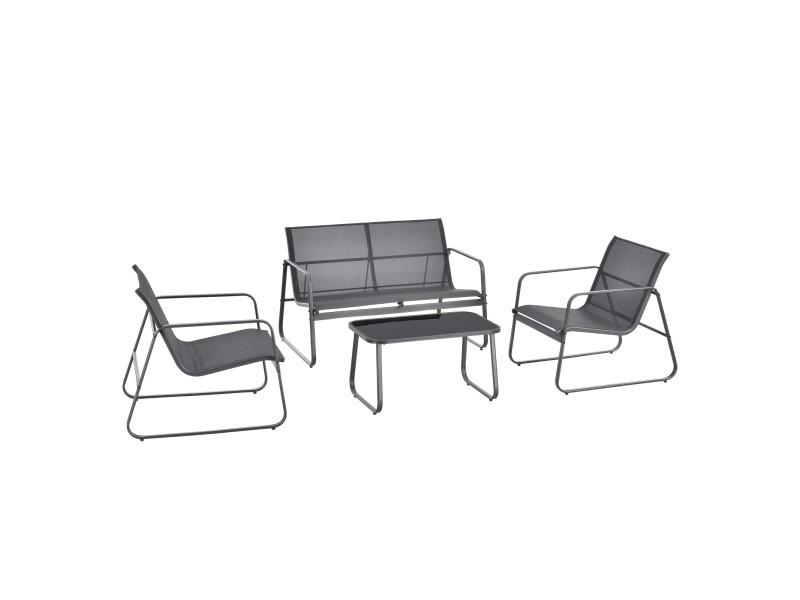Salon de jardin stylé table basse plateau en verre canapé fauteuils ensemble de 4 meubles extérieurs pour 4 personnes acier pvc polyester noir gris foncé [en.casa]