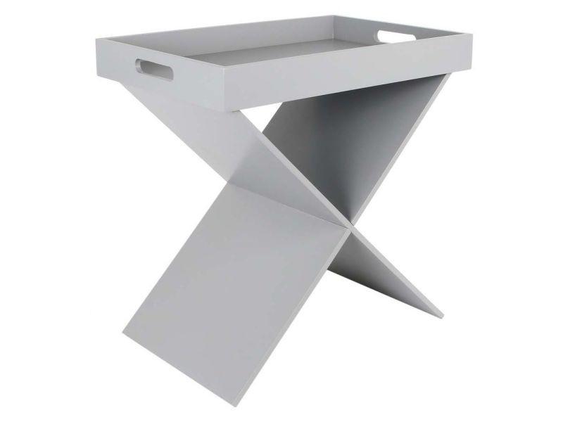 Table d'appoint croisillons avec plateau amovible gris