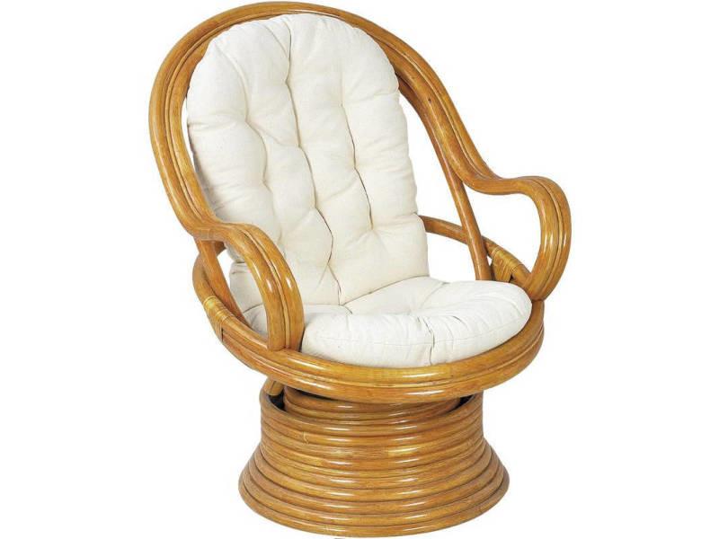fauteuil pivotant et basculant en rotin avec coussins vente de aubry gaspard conforama. Black Bedroom Furniture Sets. Home Design Ideas