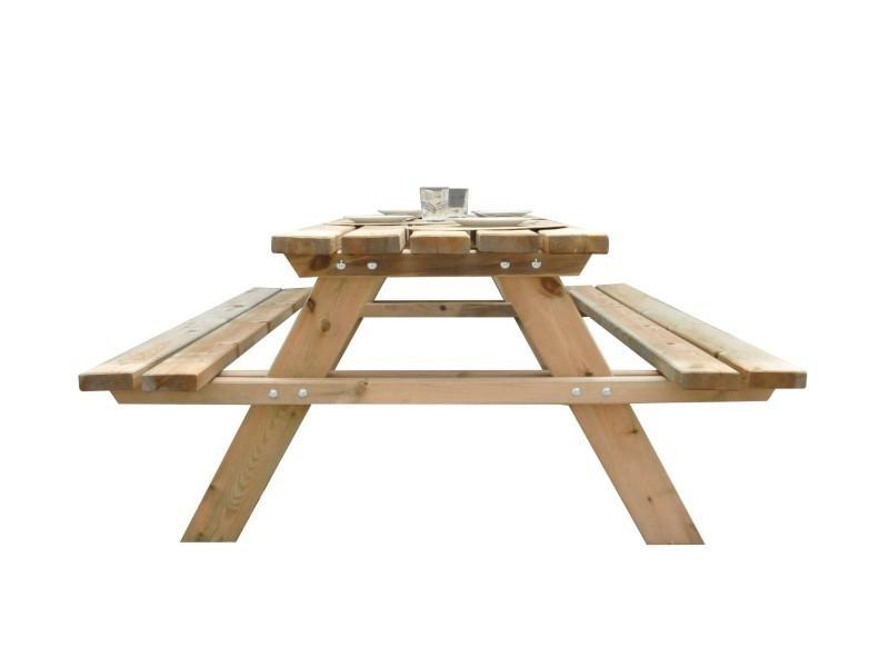 table de picnic en bois gardiun solid 200x148x70 cm e35