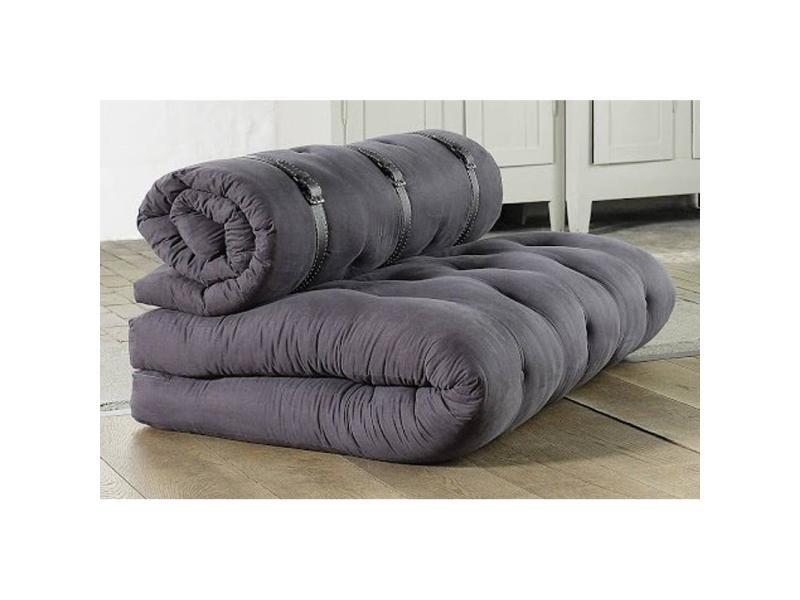 chauffeuse 2 places buckle up futon grey graphite couchage 140 200 24cm 20100852281 vente de. Black Bedroom Furniture Sets. Home Design Ideas