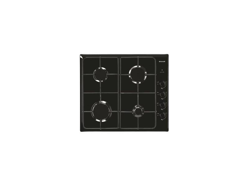 Brandt table de cuisson gaz - email 58cm - 4 bruleurs - grilles emaillées - noir