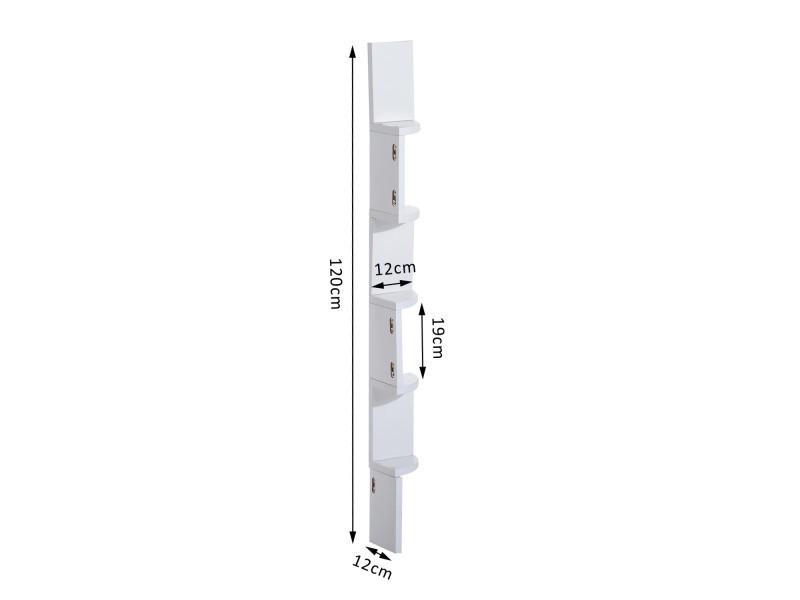 tag re d 39 angle design contemporain zig zag 5 niveaux 12l 12l 120h cm blanche neuf 38wt. Black Bedroom Furniture Sets. Home Design Ideas