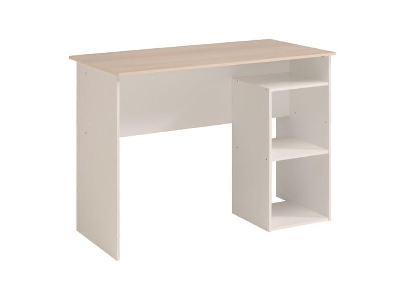 bureau bois clair blanc cocoon l 101 x l 50 x h 75 neuf vente de tousmesmeubles conforama. Black Bedroom Furniture Sets. Home Design Ideas