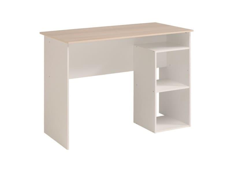 Bureau bois clair blanc cocoon l 101 x l 50 x h 75 neuf