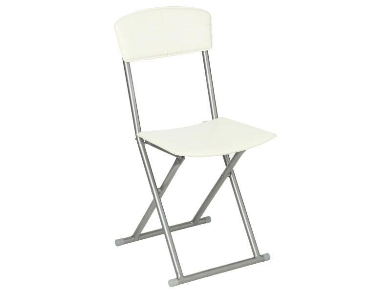 Chaise pliante pvc blanc cassé - atmosphera