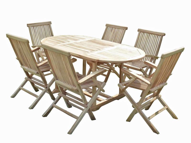 Ensemble salon de jardin en teck solo 6 fauteuils pliants