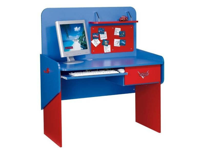 bureau enfant 114 cm avec 1 tiroirs design cars disney coloris rouge et bleu vente de. Black Bedroom Furniture Sets. Home Design Ideas