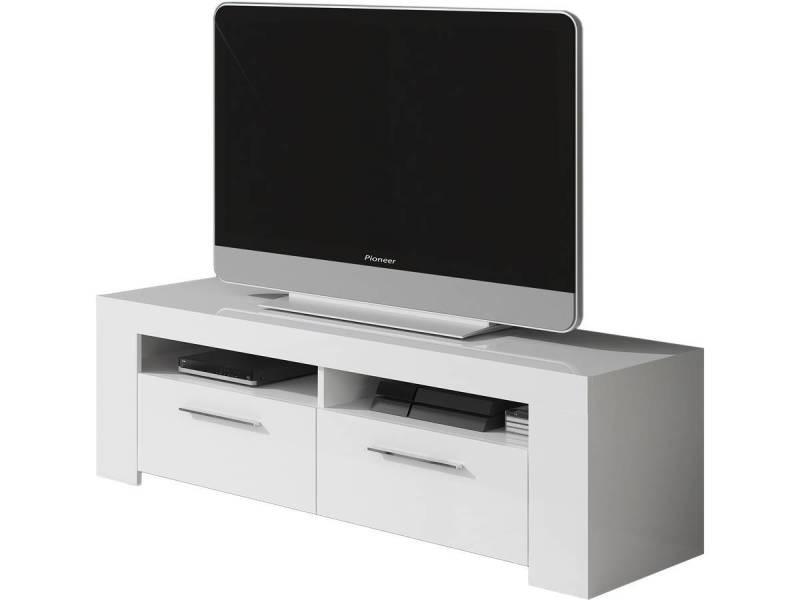 meuble tv ambre 120 x 42 x 37 cm blanc brillant vente de habitat et jardin conforama. Black Bedroom Furniture Sets. Home Design Ideas