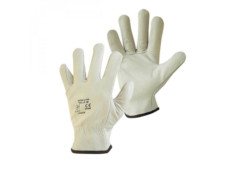 Paire de gants de protection pro cuir 100% - taille 9 - l - blanc