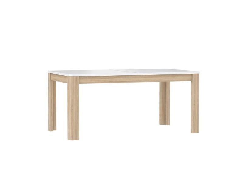 Table de repas extensible 160/206 cm plateau blanc et bois - alexiane