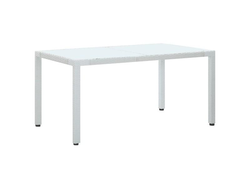 Joli mobilier de jardin famille rome table de jardin blanc 150x90x75 cm résine tressée