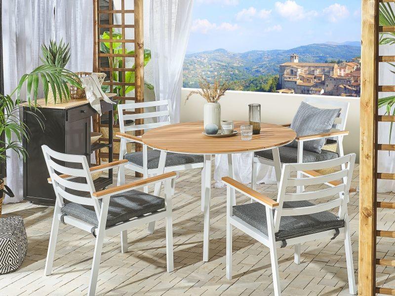 Lot de 4 chaises de jardin en aluminium blanc cavoli 213237