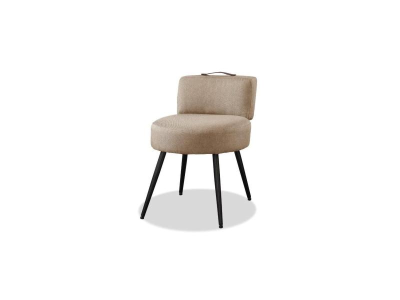 Lilo1 fauteuil pieds métal - tissu taupe - l 44 x p 45 x h 63 cm