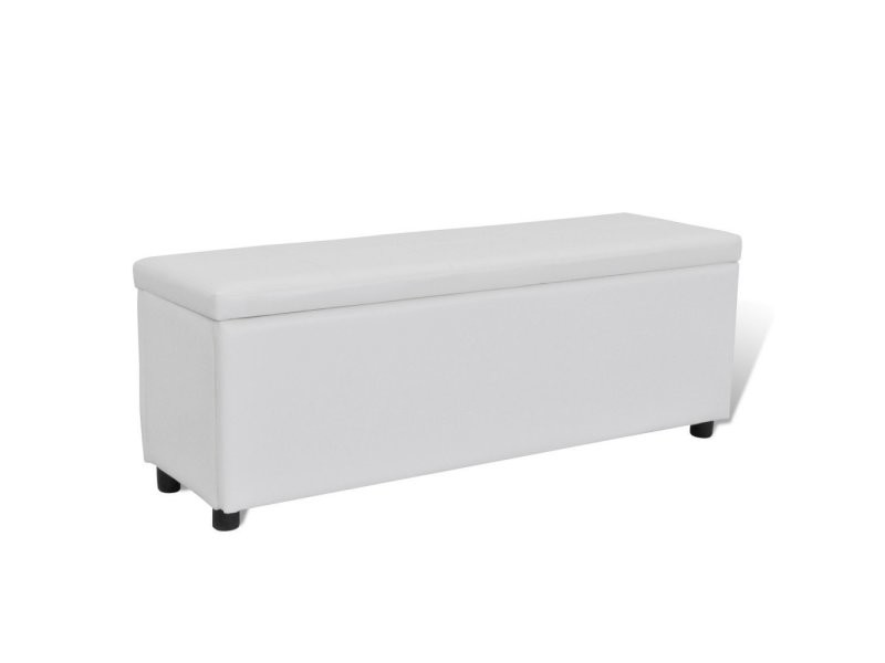 banquette banc coffre de rangement blanc 119 cm. Black Bedroom Furniture Sets. Home Design Ideas