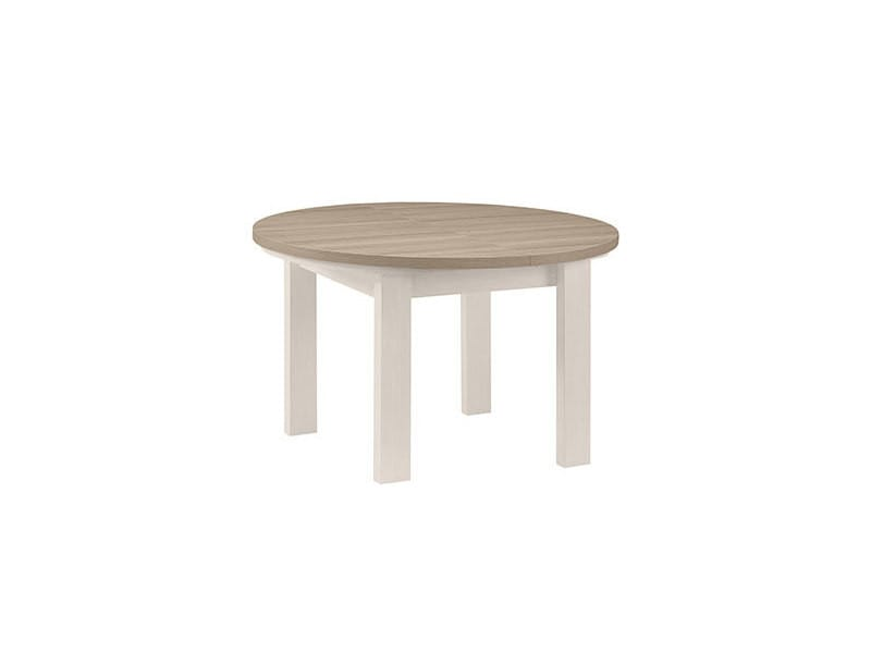 table ronde 1 allonge blanc et plateau naturel cassandre