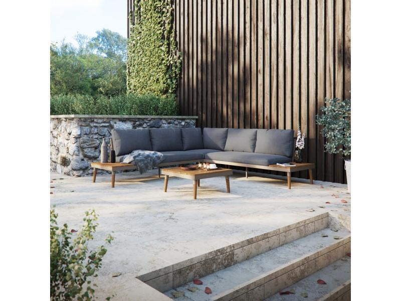 Canapé d'angle de jardin avec table - bearchan - gris