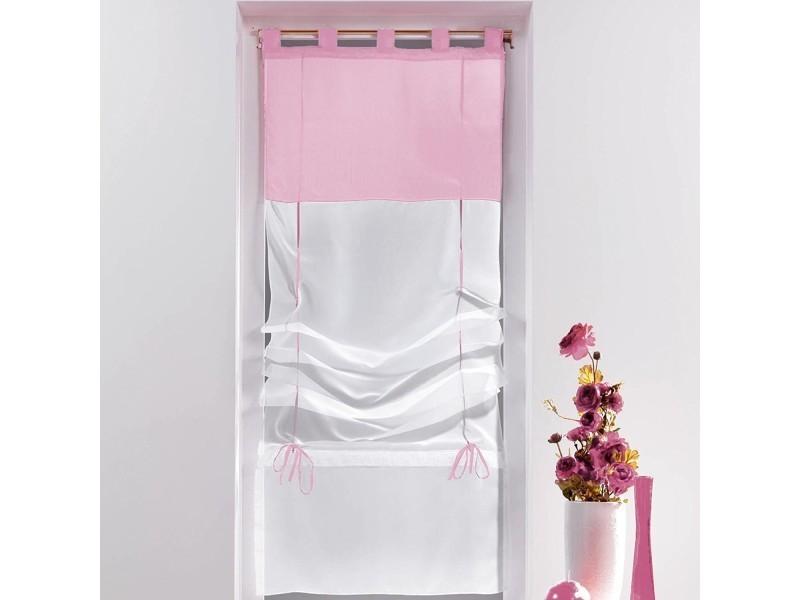Un store droit à passant - rideau voile bicolore blanc / rose dragee ...