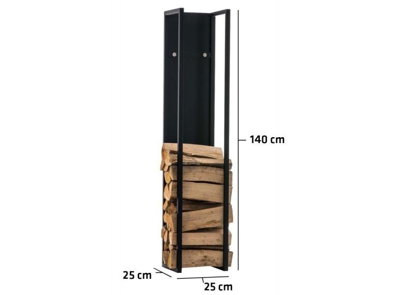Range-bûches étagère en métal noir bois de cheminée 25x25x140 cm dec10022