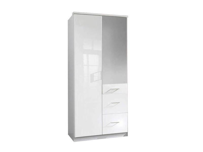 Armoire penderie cooper blanche avec miroir 2 portes battantes 3 tiroirs 20100866101